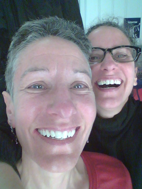 Reiki Teacher and Practioner Jo with her twin sister Amy